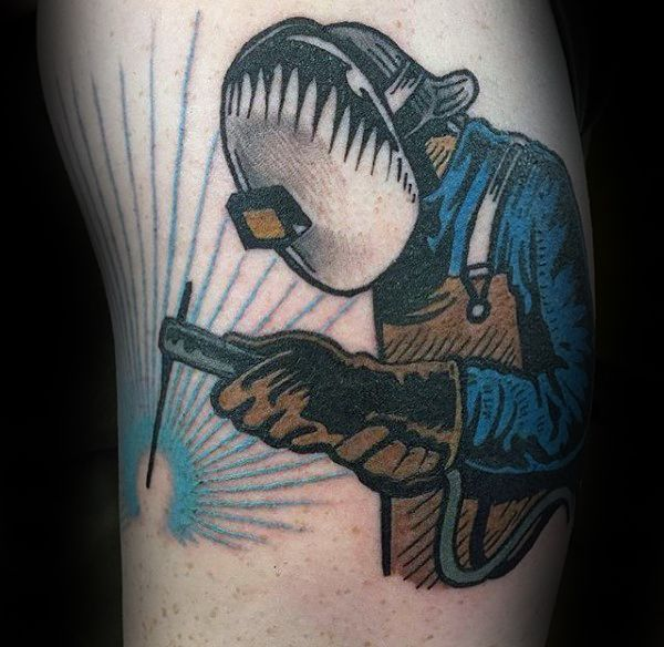 80 welding tattoos for men industrial ink design ideas welding tattoo and tattoo. Black Bedroom Furniture Sets. Home Design Ideas