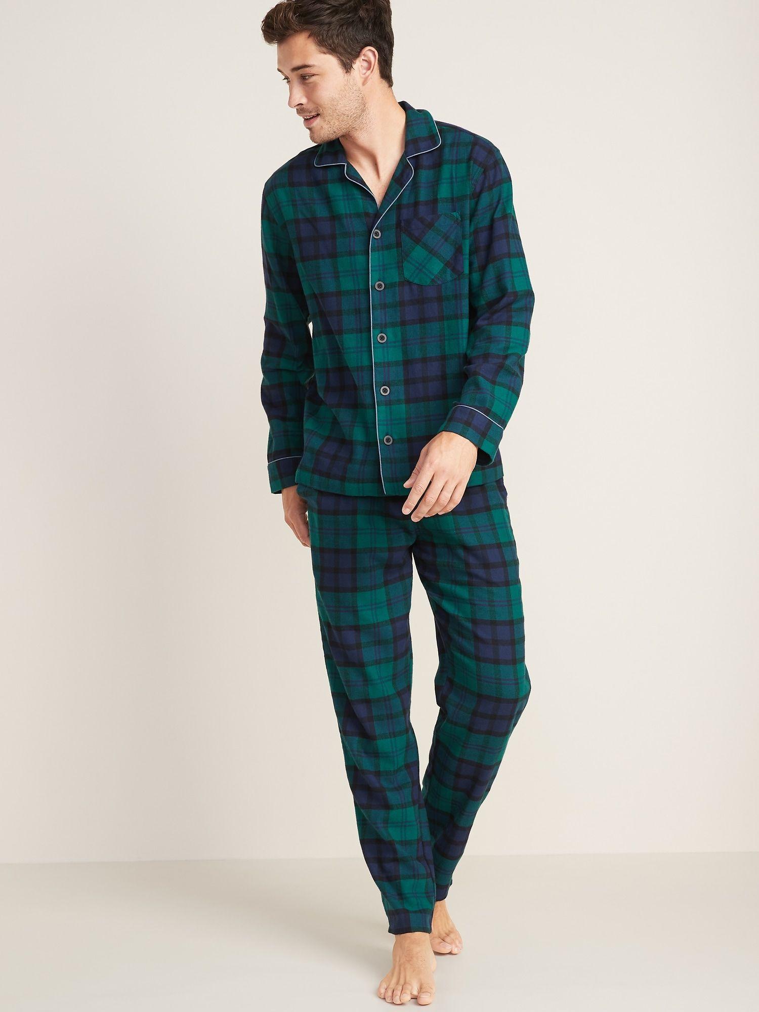 Patterned Flannel Pajama Set For Men Flannel pajamas