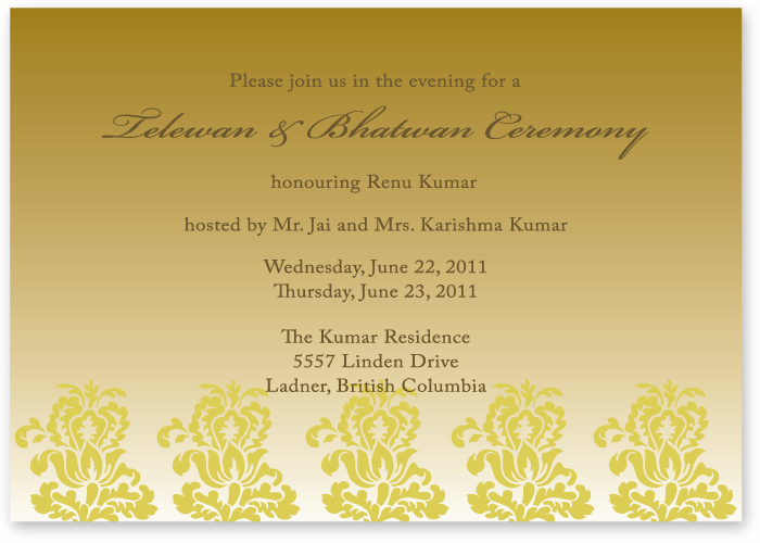 Pre Wedding Event Card