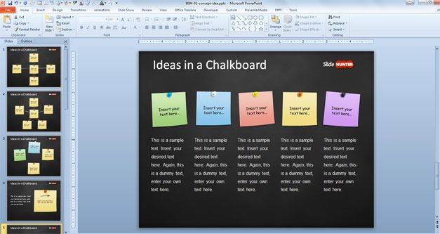 powerpoint template with sticky notes in the slide design, Modern powerpoint