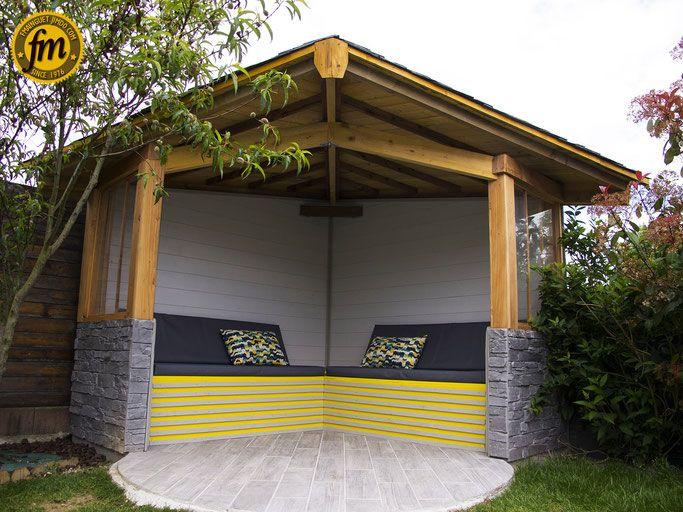 Kiosque en bois kiosque d 39 angle en bois kiosque en bois - Kiosque de jardin en bois pas cher ...