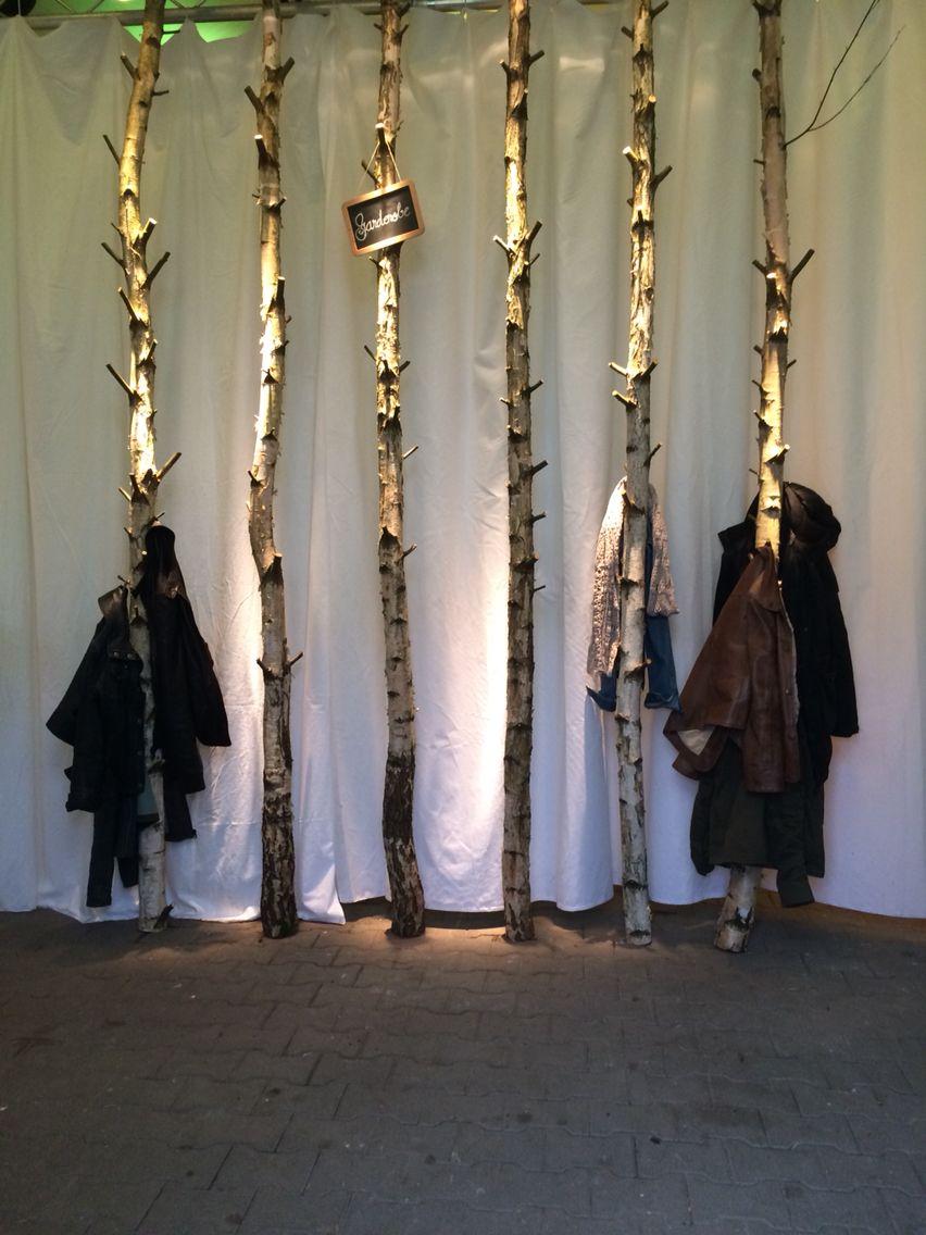 Garderobe aus Birkenstämmen   Dekoration im matrosenstil ...