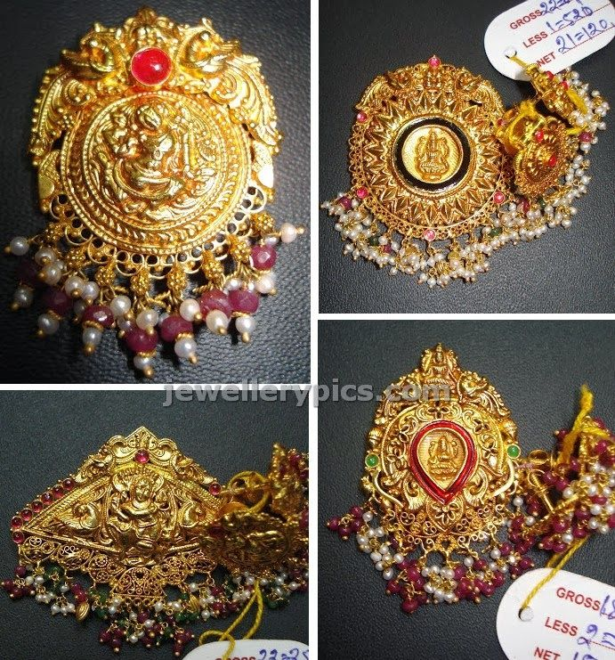 Antique finish temple jewelelry pendents - Latest Jewellery Designs