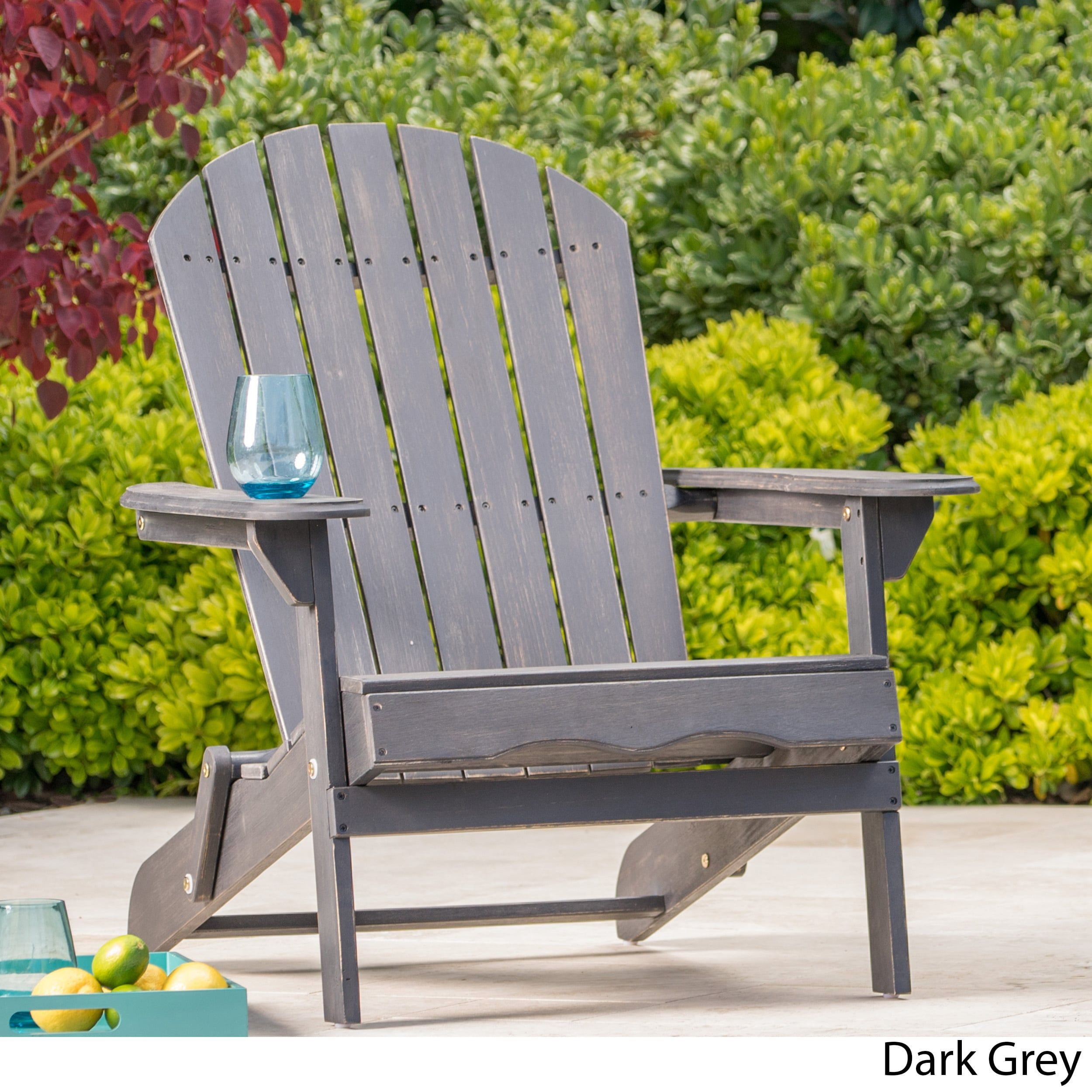 Hanlee Outdoor Folding Wood Adirondack Chair By Christopher Knight Home  (Dark Grey), Size