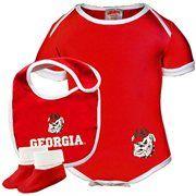 3466f20a9 Georgia Bulldogs Infant 3-Piece Creeper, Bib & Booties Set - Red ...