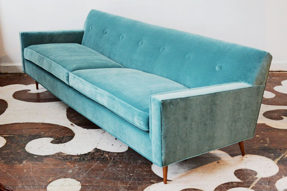A NYC Designer Purchased This Mid Century Sofa In Ohio For Her Her DC  Client And Had It Shipped To Us For Reupholstery. The Textile Is Maxwell  Fabricsu0027s ...