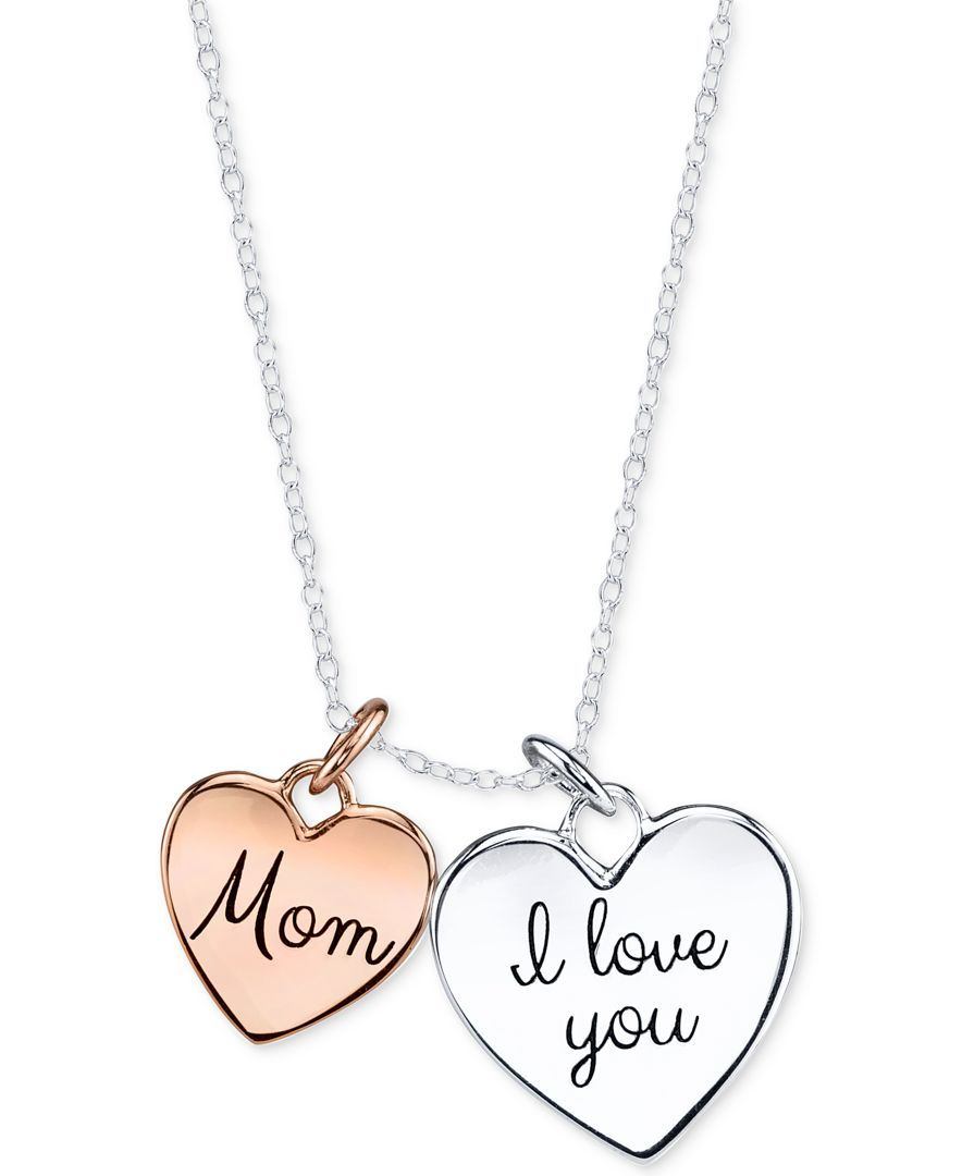 Unwritten Two-Tone Mom Double Heart Pendant Necklace in Sterling Silver and Rose Gold-Plated Sterling Silver