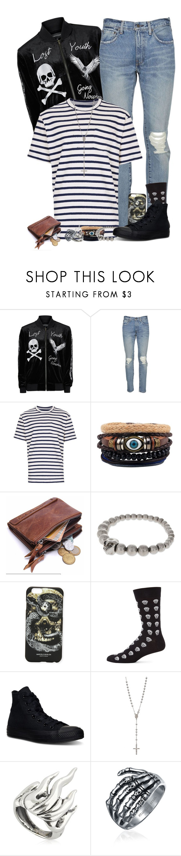 """""""Matt- Just go with it..."""" by shadesofcharm ❤ liked on Polyvore featuring Topman, Levi's, Alexander McQueen, Marcelo Burlon, Converse, Cantini MC Firenze, Bling Jewelry, men's fashion and menswear"""