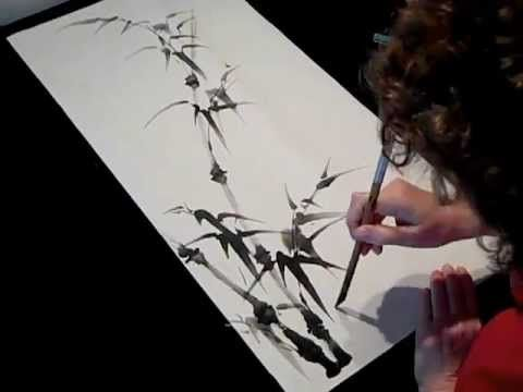 Chinese Brush Painting- Bamboo for Beginner Students - YouTube