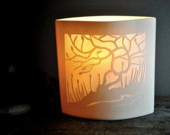 Lovers Tree Ellipse Porcelain Lamp