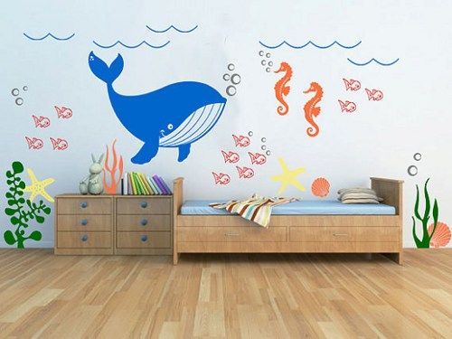 Marvelous Kids Room Vinyl Wall Decal Underwater Theme Seaweed Fish Sea Star Seashell  Whale And Seahorse Bathroom Part 9