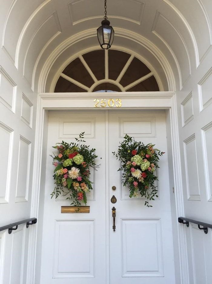 Door flowers.  Such a nice touch...