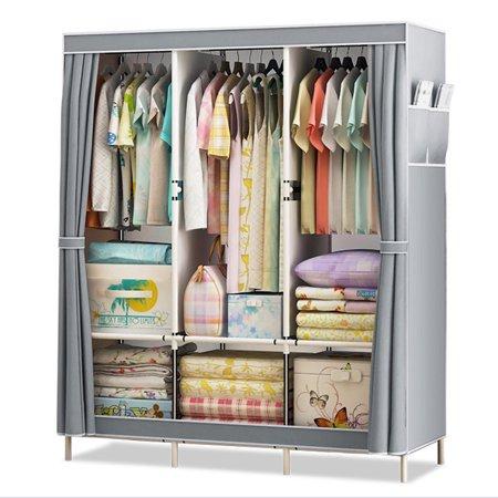 Loset Cabinet Storage Organizer Wardrobe Clothes Rack With Hanger Simple Stand Walmart Com In 2020 Closet Clothes Storage Clothes Shelves Closet Cabinets