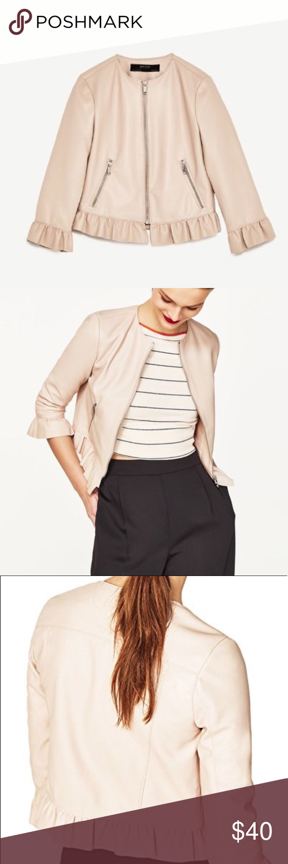 Zara blush pink faux leather ruffle jacket Zara blush pink