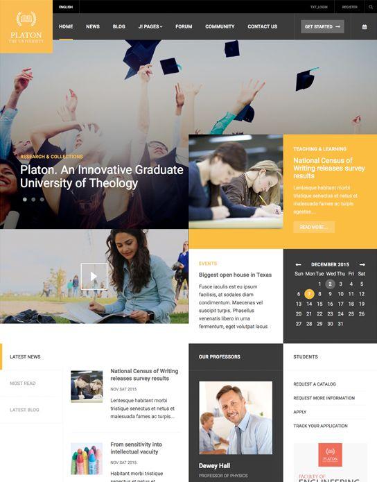 Ja Platon Responsive Joomla Template For Universities Colleges Joomla Templates And Extensions Provider Joomla Templates Joomla Colleges And Universities