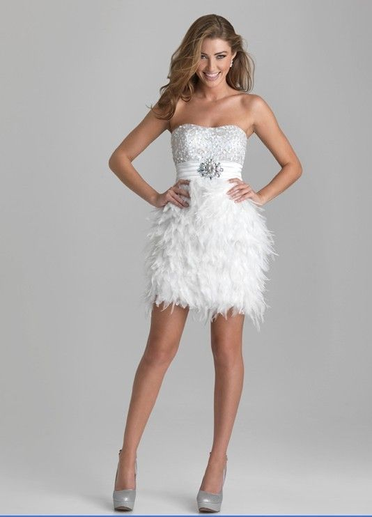 Short Prom Dresses with Feathers