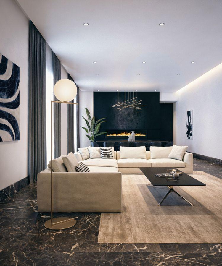 schwarzer marmor boden wohnzimmer beige polstermöbel elegant ...