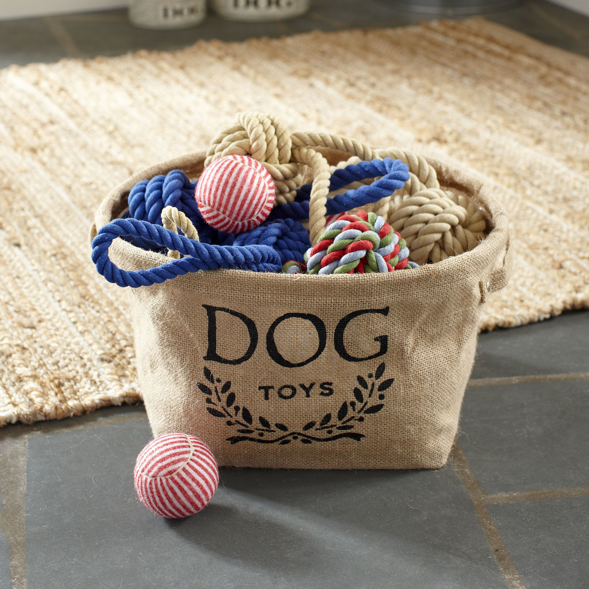 Roland Storage Basket | Organize pet toys and accessories with this eco-friendly, flexible storage basket. Made from woven hemp fibers, this basket's interior coating resists water and wipes clean easily.