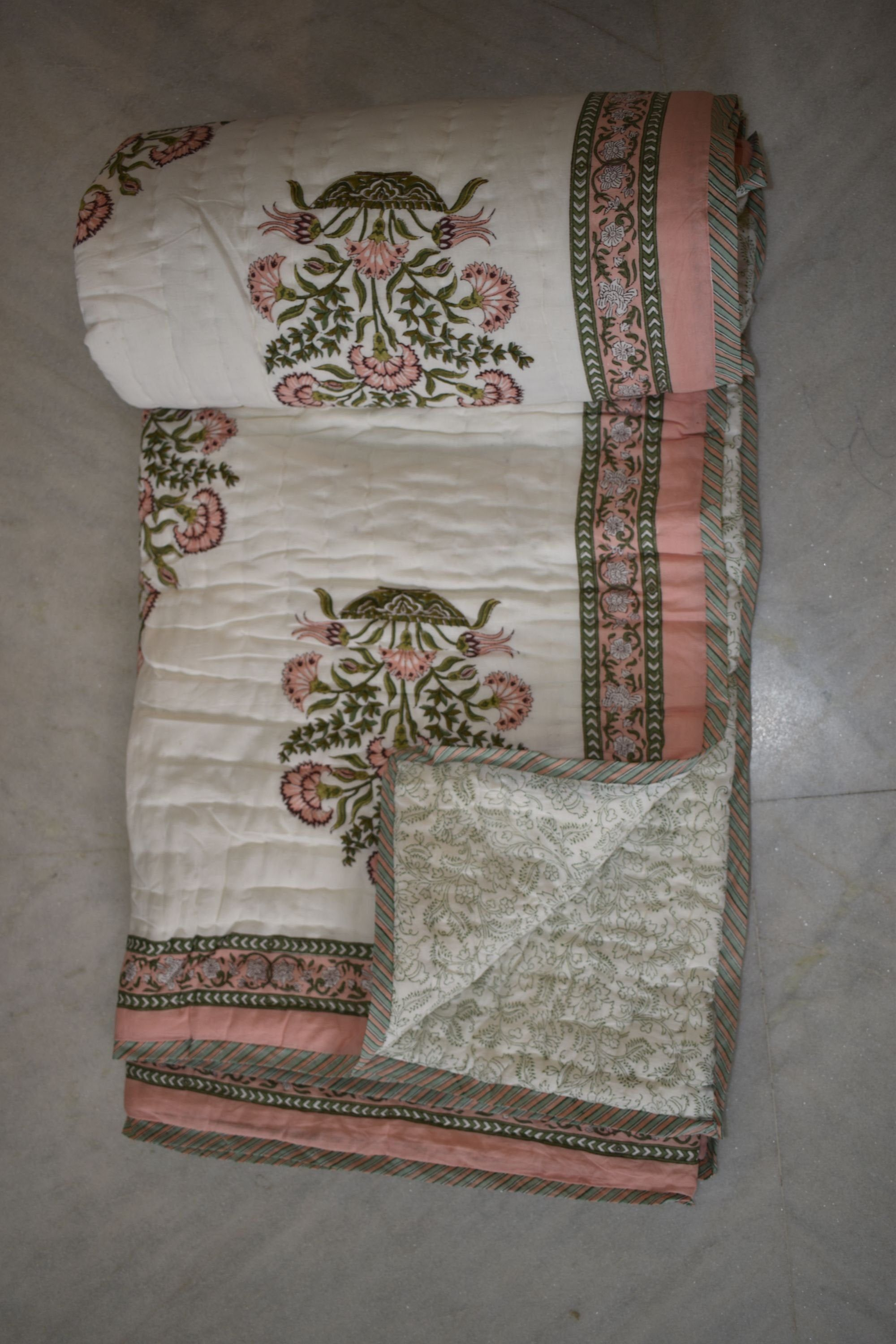 New Indian Cotton Quilt Hand Block Print Traditional Coverlet Reversible Blanket