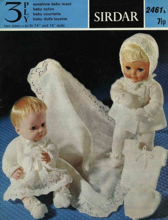 Baby knitting pattern -baby dolls clothes pram / dress sets knitting ...