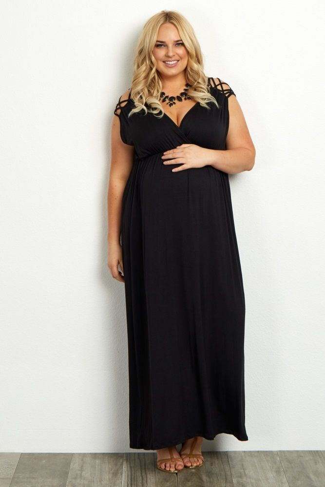 Black Woven Shoulder Plus Size Maxi Dress