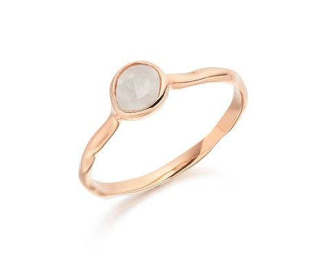 Sterling Silver Siren Small Stacking Ring Pink Quartz Monica Vinader jR5pm5a09