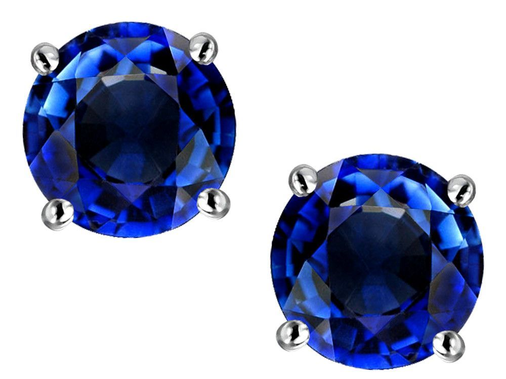 Star K Round 7mm Created Sapphire Earrings Studs