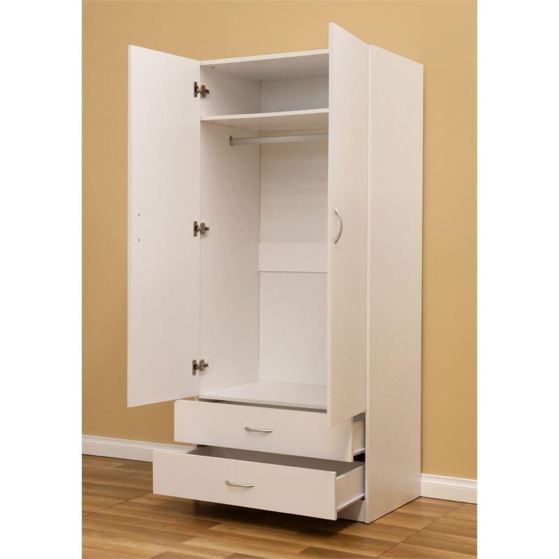 Montgomery 1800 X 800 X 520mm White 2 Door 2 Drawer Wardrobe Drawers Wardrobe Doors Locker Storage