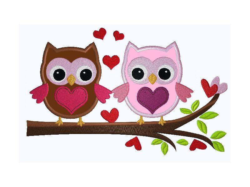 Bild 1 von Stickdatei Valentine Cute Owls Ast-Eulen Appli 16,99 x 10,81 cm  / (Format) VP3