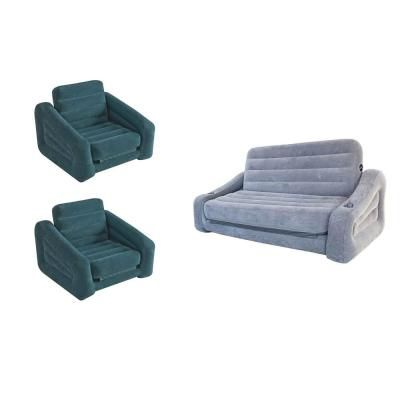 Intex Inflatable Pull Out Sofa Queen Air Mattress And Chair Bed