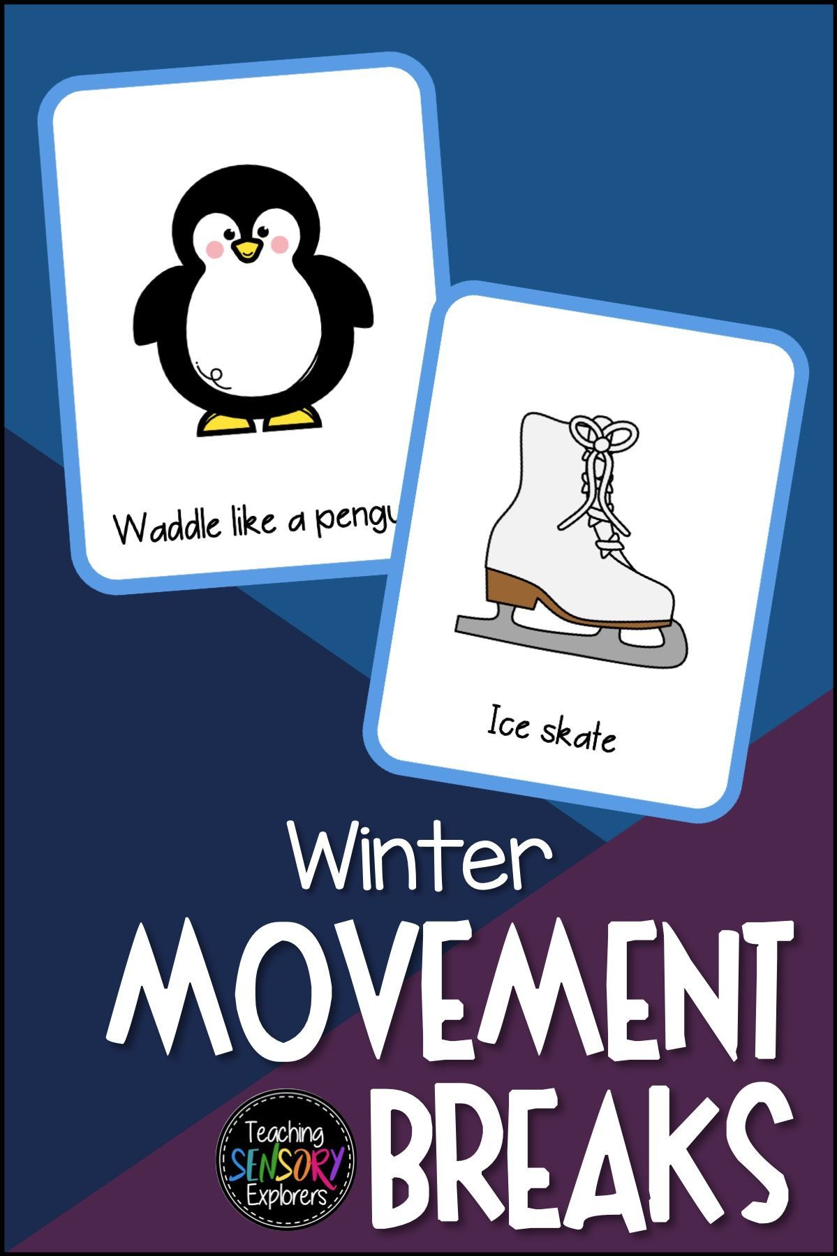 12 Winter Themed Movement Break Cards With Corresponding