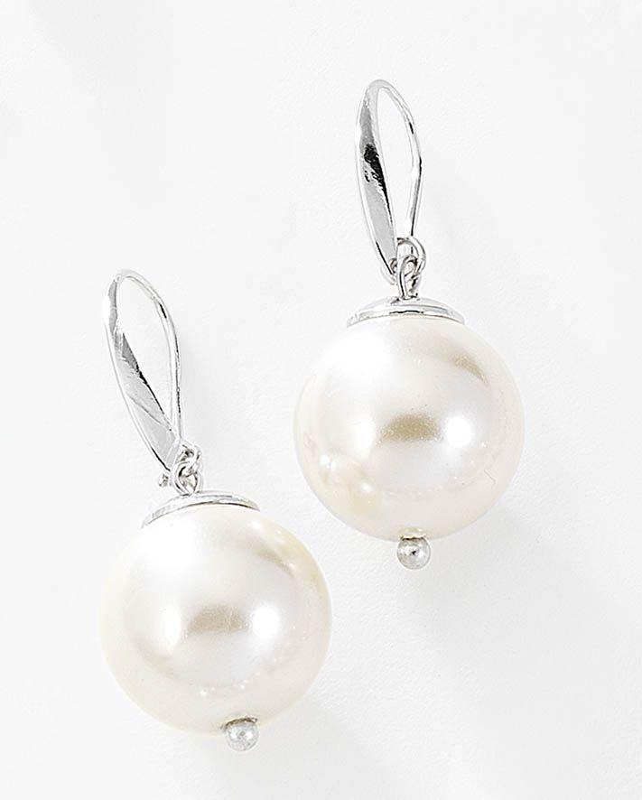 e0996be81b5b Hermosos aretes de perla grande natural con sujeción de garfio. Modelo  415404.