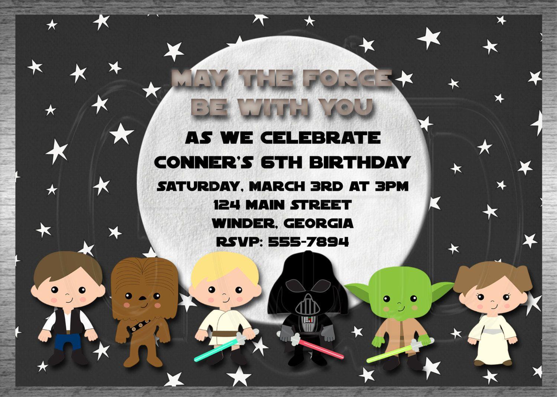 Galaxy Star Wars Invitation Inspired Boy Or Girl  Printable Digital File By  Graciegirldesigns77 On Etsy
