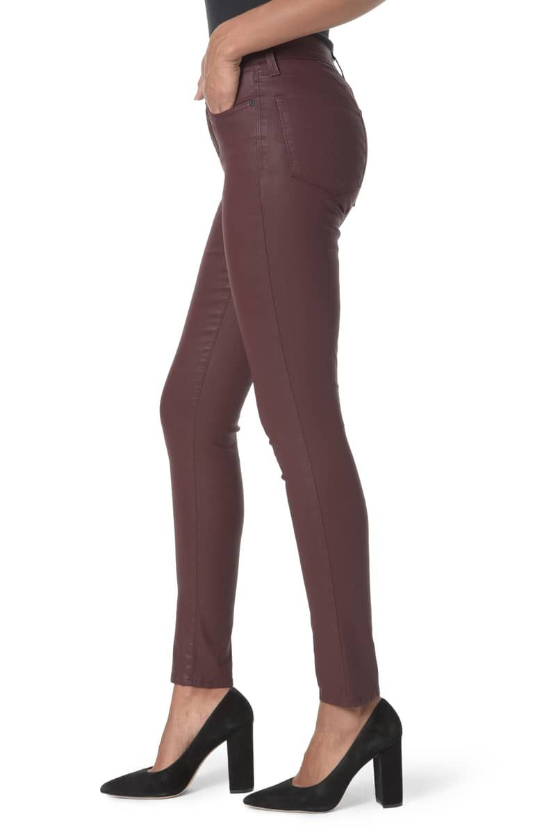 High waist coated stretch skinny jeans alternate color