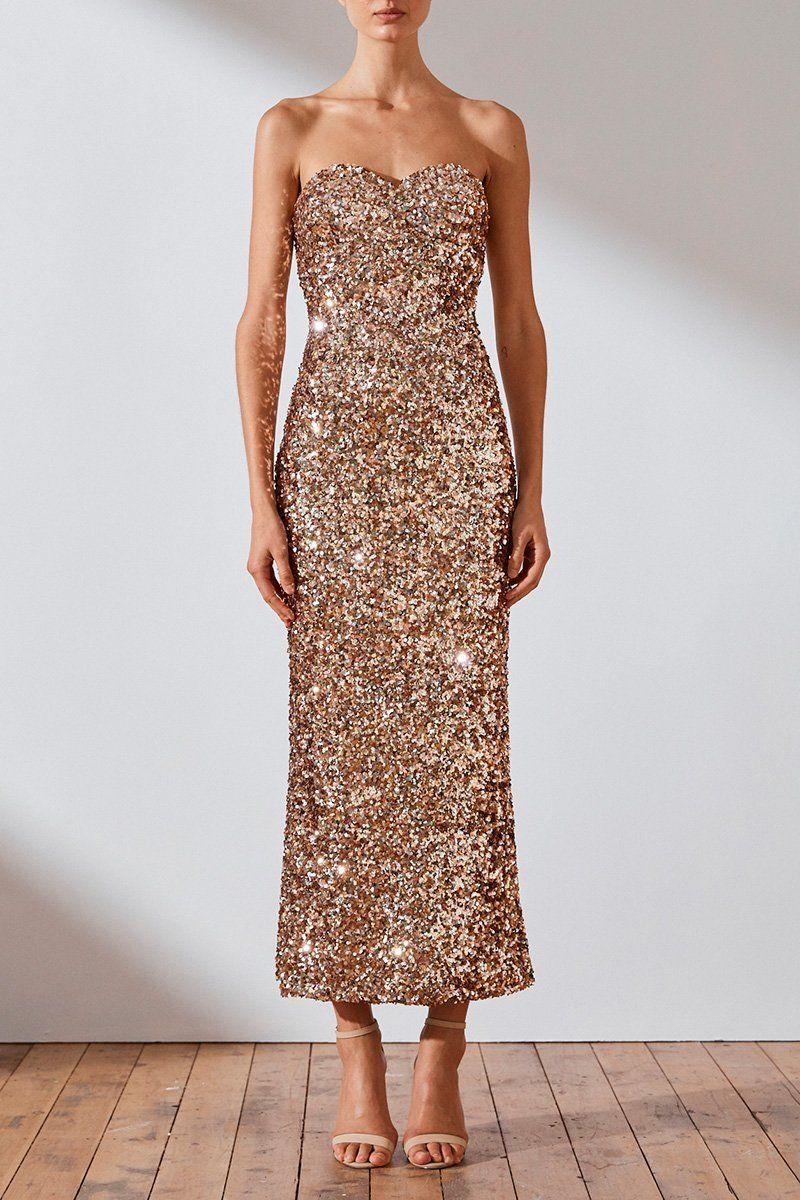 Faye Strapless Midi Dress Rose Gold Dresses Shona Joy Shona Joy International Midi Dress Evening Dress Beaded Dresses [ 1200 x 800 Pixel ]