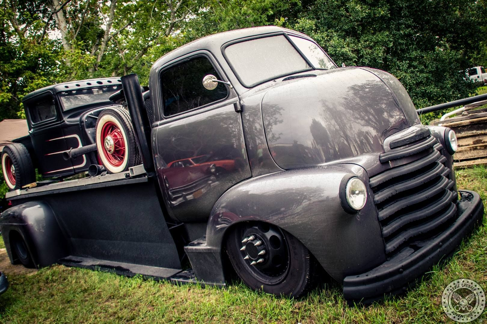 chevy chevrolet advanced desing coe pickup flatbed rolloff with a traditional pickup truck hotrod on the back white walls slammed gun metal gray flat  [ 1620 x 1080 Pixel ]