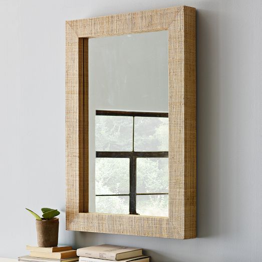 Parsons Wall Mirror Natural Grass Cloth Mirror Wall Decor