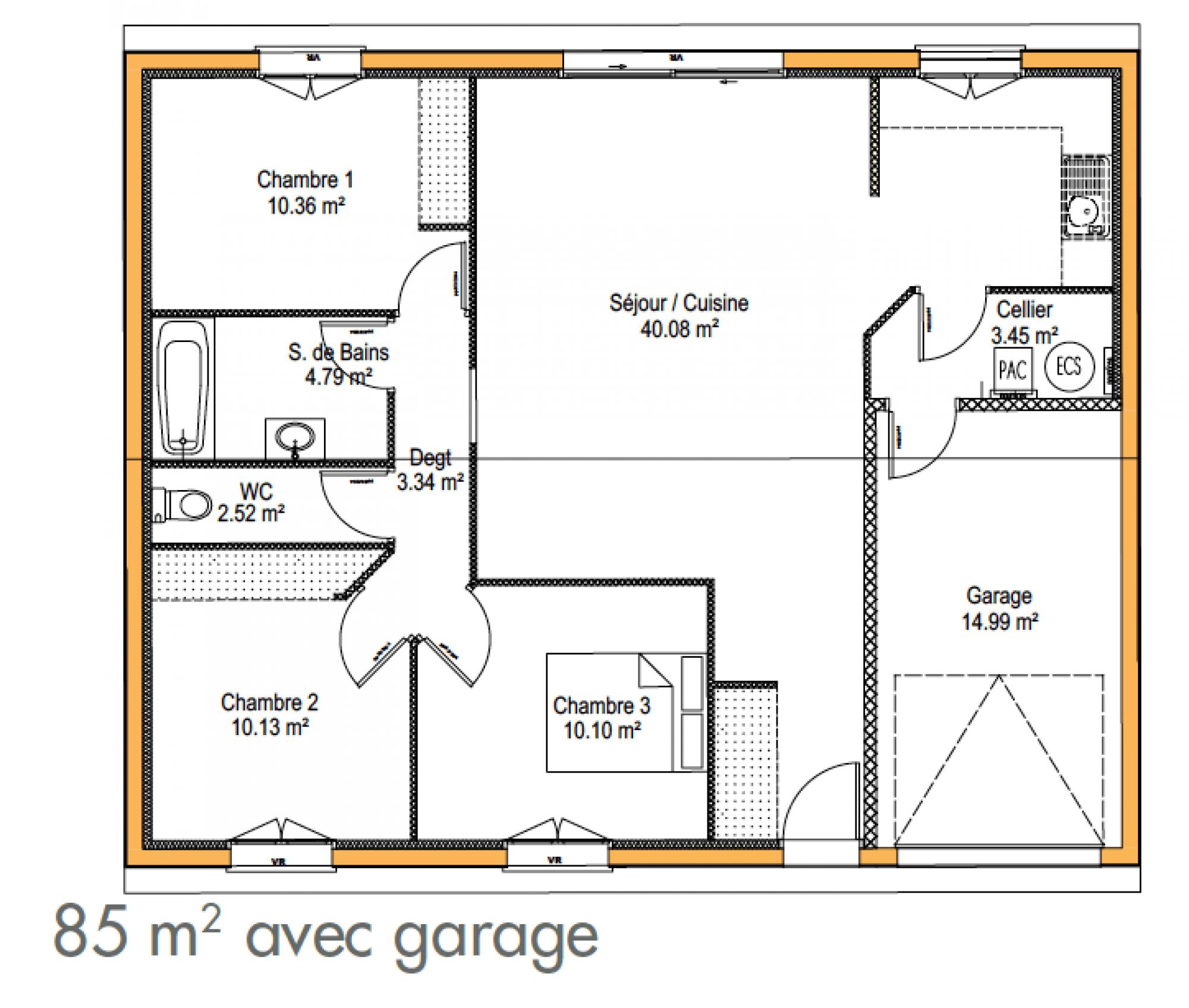 Plan De Maison 3 Chambres Modele Habitat Concept 90 10