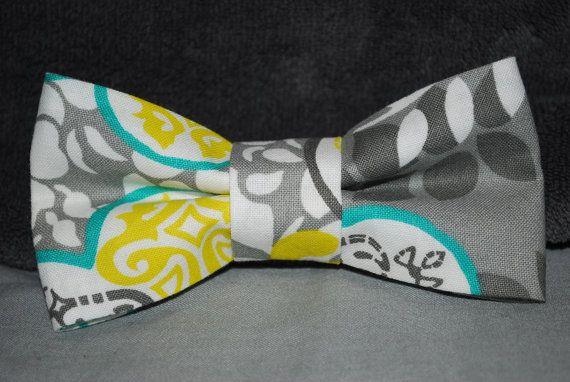 Boy's Bow Tie Grey & Yellow $12.99