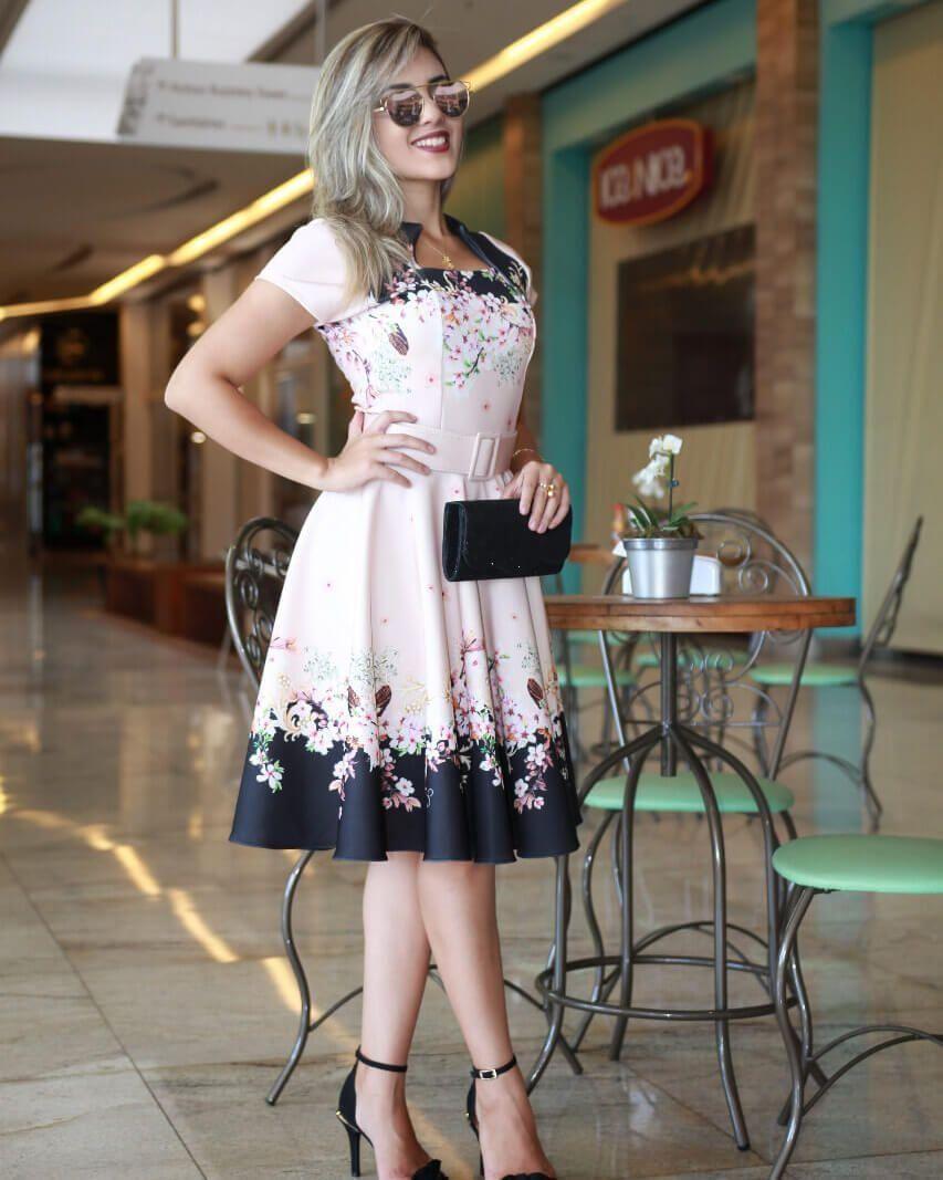 0063892155 Vestido Midi Luna Floral com Cinto Moda - Moda Evangélica - Flor de Amêndoa