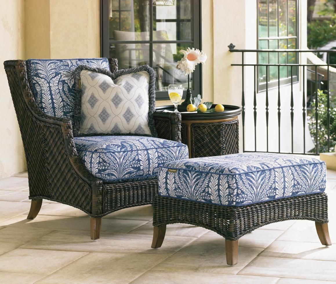 Woven Wicker Lounge Chair And Ottoman With A Zest For Modern Caribbean Living