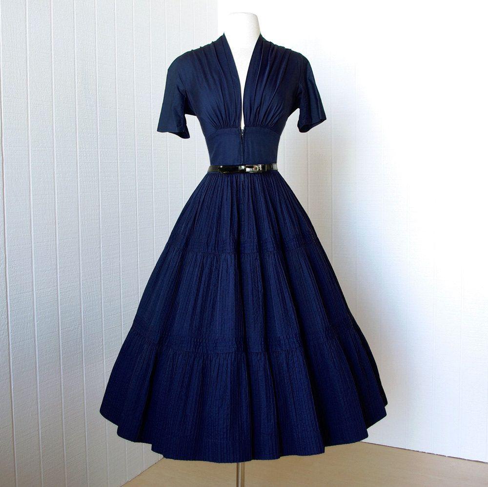 Vintage us dress vavoom forties navy cotton full skirt pin