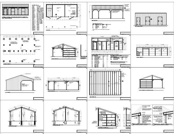 2 Stall Horse Barn Plans With Lean To And Tack Room Horse Barn Plans Horse Shelter Small Horse Barns