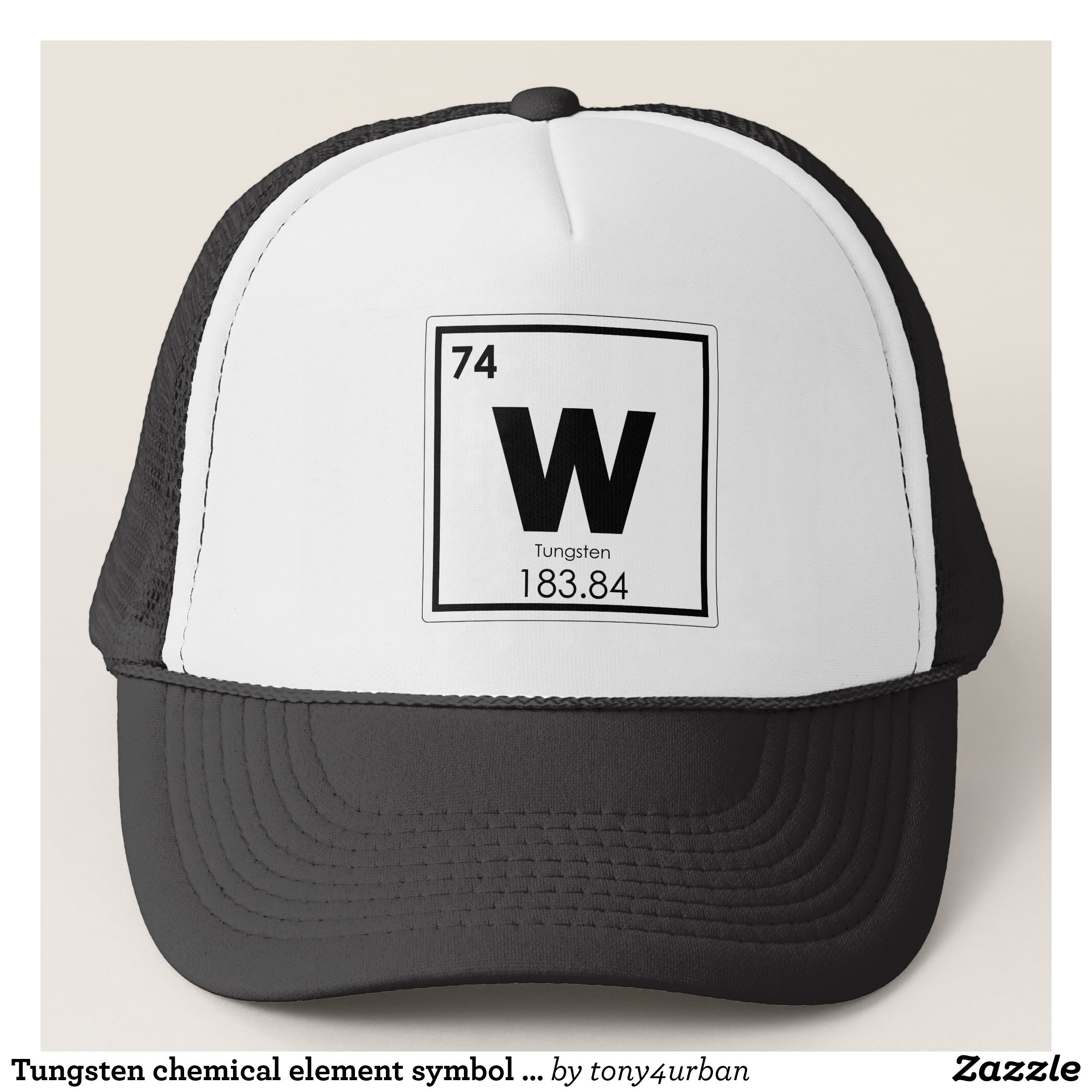Tungsten Chemical Element Symbol Chemistry Formula Trucker Hat