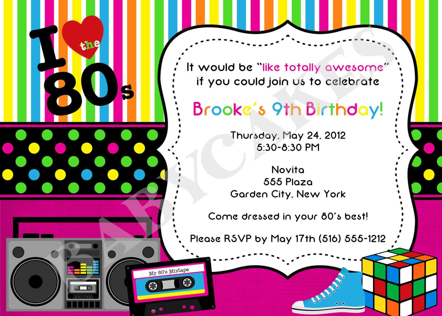 80\'s Theme Birthday Invitation - DIY Print Your Own. $12.00, via ...