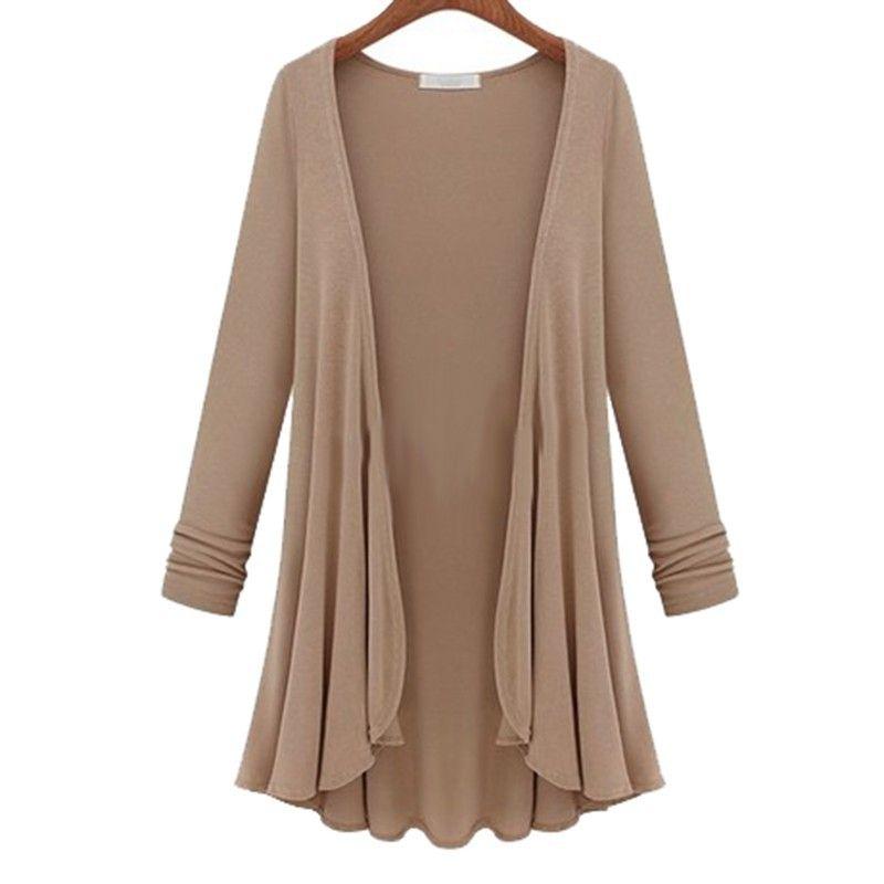 c50a78961a 2015 outono inverno nova moda casual solta manga comprida Flounce Hem  Mulheres malhas longo Casaco Poncho Cardigan feminina blusa blusa .
