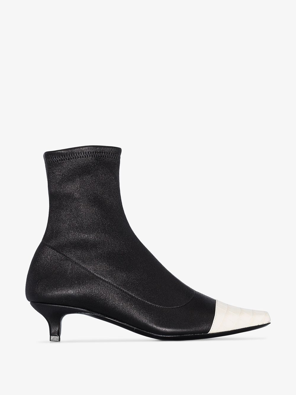 Karl Two Tone Stretch And Croc Effect Leather Sock Boots In Black Leather Sock Boots Boots Leather Socks