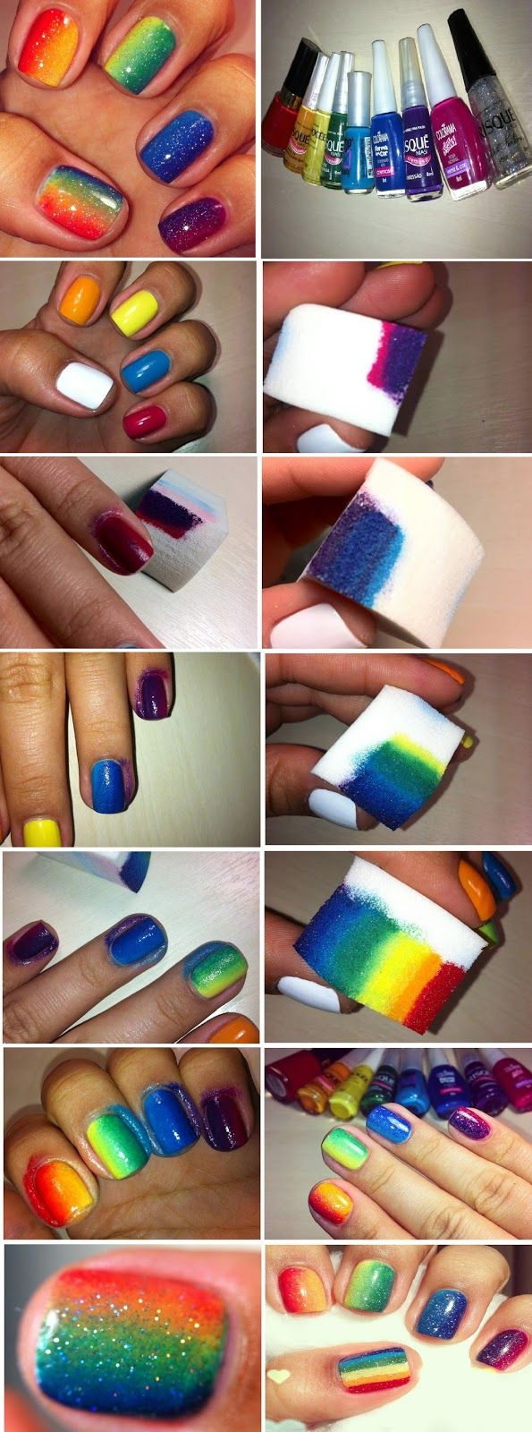 Ombre Rainbow Nails Art Design Tutorials Step by Step ...