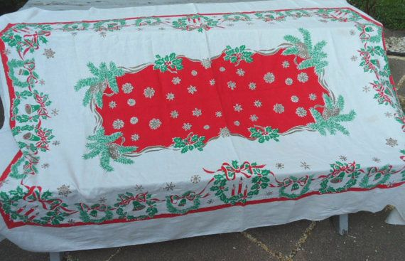 Vintage Christmas holiday large linen tablecloth with by HandPycd, $24.50