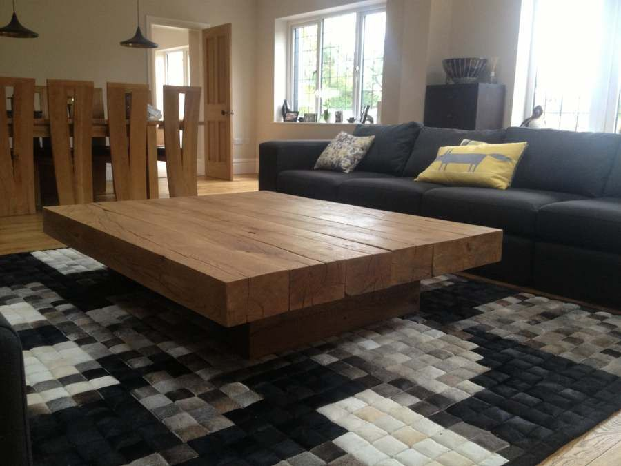 modern round low square coffee table